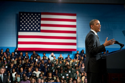 President Barack Obama delivers remarks to discuss proposals unveiled in the State of the Union Address that focus on strengthening the economy for the middle class and those striving to get there, at Hyde Park Academy, Chicago, Ill. (Official White House Photo by Pete Souza)