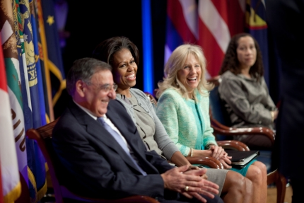 Defense Secretary Leon Panetta, First Lady Michelle Obama and Dr. Jill Biden listen to Gen. Martin Dempsey, Chairman of the Joint Chiefs of Staff, speaks during a Joining Forces military spouse employment event at the Pentagon in Arlington, Va., Feb. 15, 2012. (Official White House Photo by Chuck Kennedy)