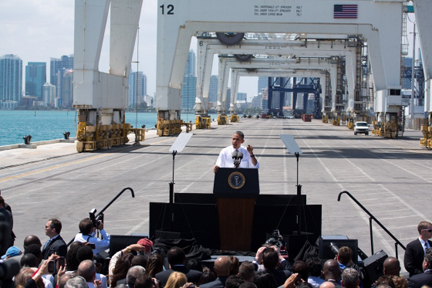 President Barack Obama delivers remarks on infrastructure, at the Port of Miami Tunnel project in Miami. (Official White House Photo by Chuck Kennedy)