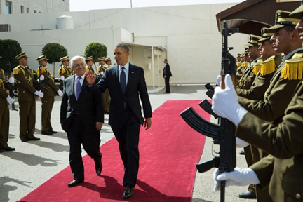 President Barack Obama and President Mahmoud Abbas of the Palestinian Authority walk past an honor guard at the Mugata Presidential Compound in Ramallah, the West Bank. (Official White House Photo by Pete Souza)