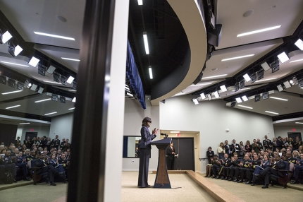 First Lady Michelle Obama delivers remarks at the White House Forum on Military Credentialing and Licensing, in the Eisenhower Executive Office Building South Court Auditorium, April 29, 2013. The First Lady announces the IT Training and Certification Partnership, a new public-private partnership that will enable thousands of service members to earn industry-recognized information technology (IT) certifications before they transition from military service. (Official White House Photo by Chuck Kennedy)