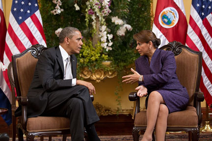 President Barack Obama participates in a bilateral meeting with President Laura Chinchilla of Costa Rica at Casa Amarilla, San Jose, Costa Rica. (Official White House Photo by Pete Souza)
