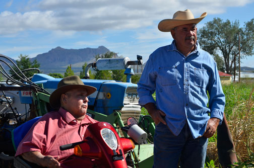 State Representative Phillip M. Archuleta (D-36) and Jacinto Palamino, a local farmer who lives and works in the Doña Ana community.