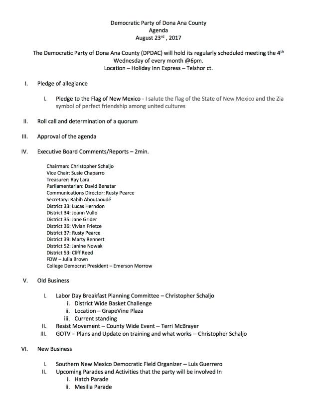 DPDAC Agenda August